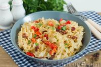 Спагетти с болгарским перцем, вялеными помидорами и кедровыми орешками