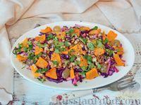 Салат из краснокочанной капусты и тыквы с виноградом и яблоком