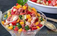 Овощной салат с колбасой, кукурузой и яйцами