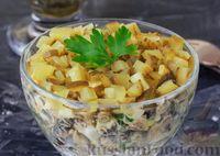 Салат с грибами, горошком, яйцами и солёными огурцами