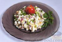 Рыбный салат с луком и яйцом