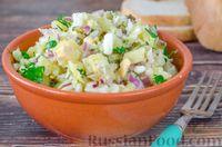 Картофельный салат с редькой, огурцами и яйцами