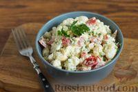 Салат из цветной капусты с помидорами с сыром