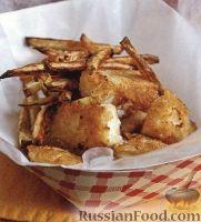 Рыба, жаренная в кляре, с жареным картофелем