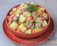 Тушёная картошка с индейкой в сметанном соусе