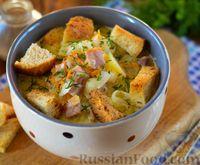 Сырный суп с ветчиной, макаронами и сухариками