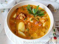 Гороховый суп с копчёными свиными рёбрышками и овощами