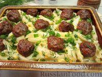 Макароны с сыром и фрикадельками, в духовке
