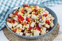 Салат с фасолью, сладким перцем и кукурузой