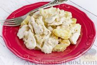 Картошка с курицей, тушенной в сметанно-горчичном соусе