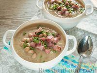 Суп-пюре из цветной капусты и фасоли, с грудинкой