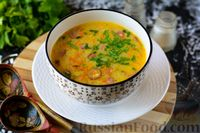 Гороховый суп с охотничьими колбасками и плавленым сыром