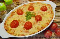 Ленивая лазанья из макарон с куриным фаршем, овощами и сыром