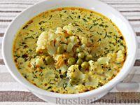 Сырный суп с цветной капустой и горошком, на курином бульоне