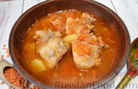 Томатный суп со свиными рёбрышками, чечевицей и копчёной грудинкой