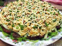 Мясной салат с яичными блинчиками и огурцами