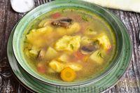 Куриный суп с шампиньонами и клёцками