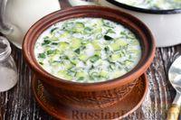 Холодный кисломолочный суп с огурцами, зелёным луком и укропом