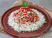 Салат с колбасой, яйцами, сладким перцем и сулугуни