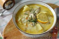 Суп из скумбрии с рисом, сметаной и розмарином