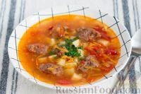 Овощной суп с фрикадельками из фасоли