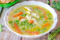 Куриный суп с рисом и свежим горошком