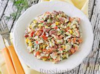 Крабовый салат с грибами, фасолью и кукурузой