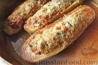 «Поцарапанные» кабачки с мясным фаршем и перцем