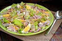 Салат с сельдью, яйцом, красным луком и горчичной заправкой