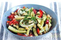 Салат с нутом, запечёнными овощами и маслинами