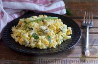Салат с мидиями, рисом, кукурузой и яйцами