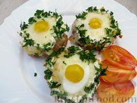 """""""Гнёзда"""" из фарша с картофелем и перепелиными яйцами"""