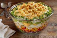 Слоёный салат с курицей, кукурузой, помидорами, яйцами и сухариками