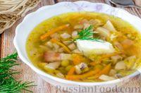 Суп с зелёным горошком, грибами и беконом