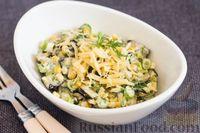 Салат с жареными баклажанами, кукурузой и сыром