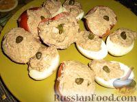 Фаршированные яйца и помидоры
