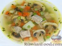 Суп из свинины с шампиньонами и горошком