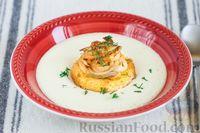 Сырный суп-пюре с гренками с луком