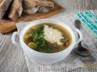Суп с лисичками, картофелем и зеленым луком