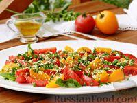 Салат из разноцветных помидоров с зеленью и кунжутом
