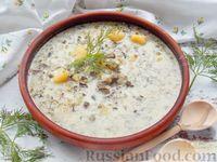 """Суп """"Груздянка"""" с картофелем, малосольными огурцами и сметаной"""