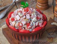 Салат с шампиньонами, помидорами и ветчиной