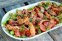 Тёплый салат с курицей, сладким перцем и помидорами