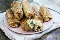 Горячие бутерброды-трубочки с сыром, в овсяной панировке