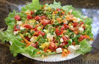 Салат с помидором, кукурузой, фетой и базиликом