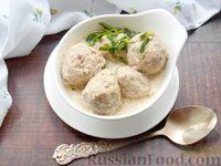 Молочный суп с фрикадельками из куриного филе и белых грибов