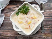 Сырный суп с беконом и вермишелью