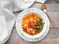 Суп из курицы и свинины c клецками и грибами