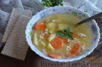 Суп с куриным фаршем и обжаренным пшеном