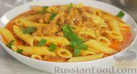 Макароны с фаршем в молочно-сырном соусе (на сковороде)